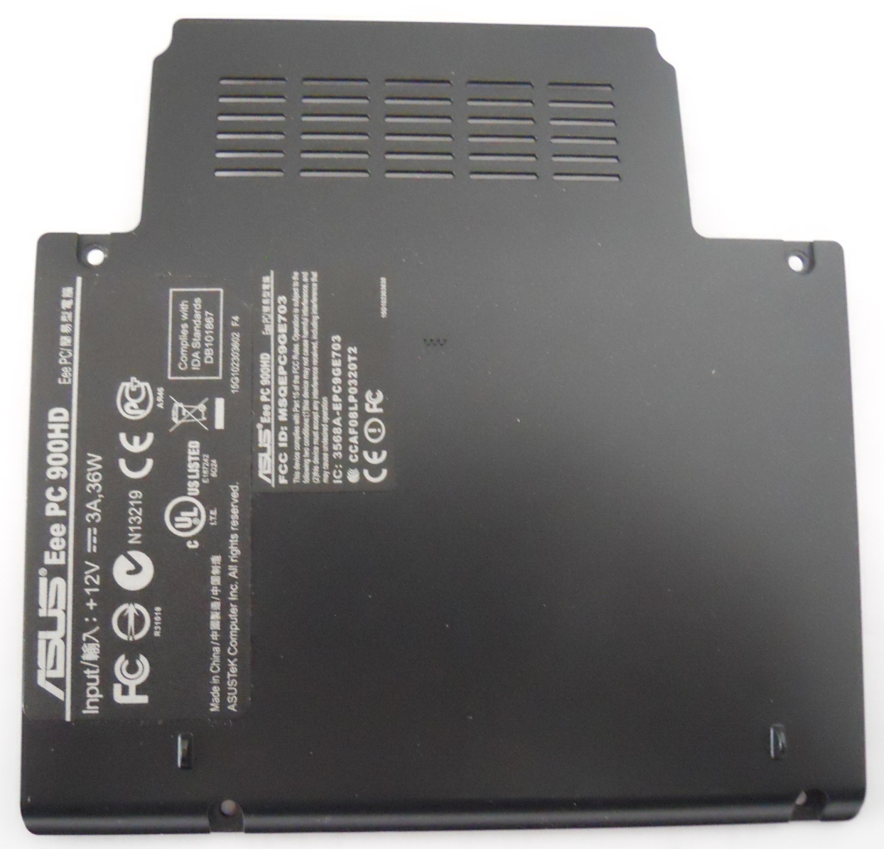 Asus Eee PC 900HD hard disk and memory cover