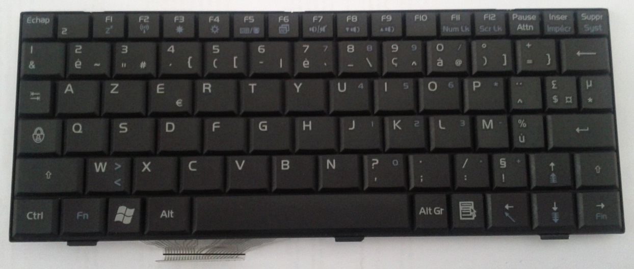 Asus Eee PC 900HD French AZERTY keyboard (top)