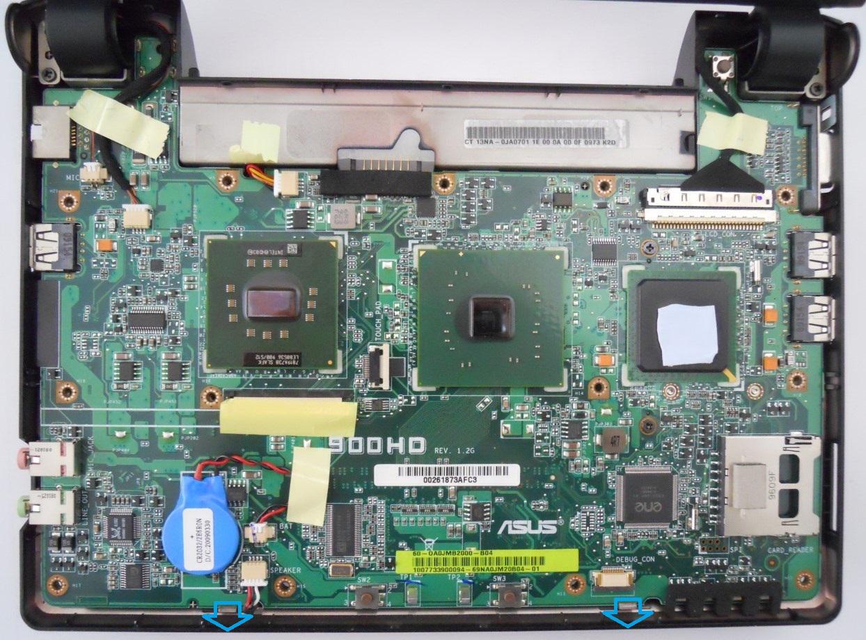 Asus Eee PC 900HD motherboard (top)