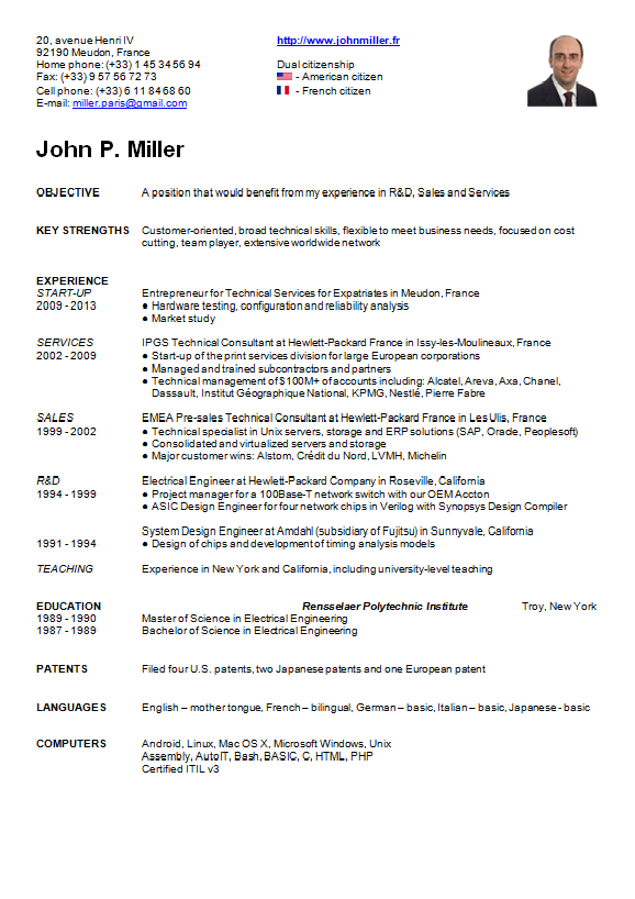 Image of John Miller's résumé or curriculum vitae (CV) in English