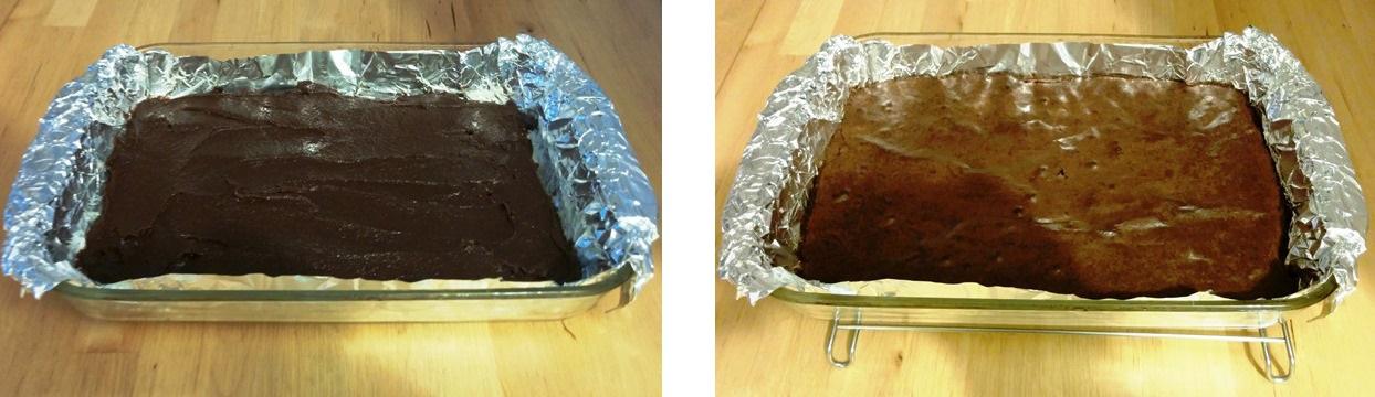 gâteaux Brownies avant et après cuisson