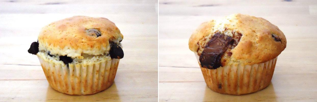 muffins aux pépites de chocolat / aux morceaux de chocolat
